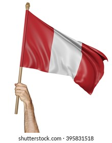 Hand proudly waving the national flag of Peru