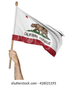 Hand proudly waving the state flag of California, 3D rendering