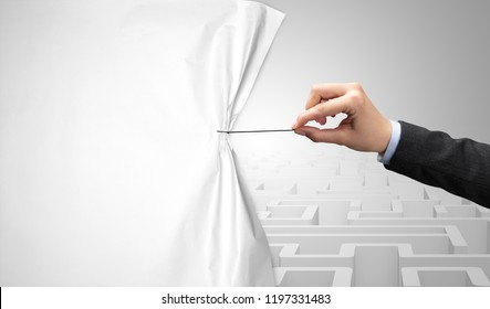 Hand pulling paper curtain, changing scene concept