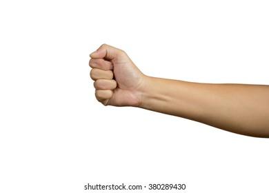 Hand punching on white