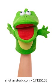 Hand puppet of frog isolated on white, happy emotion.