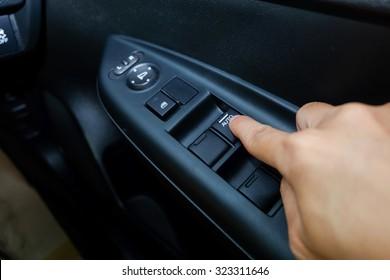 Hand push button mirror in car / Hand asian push button mirror in car