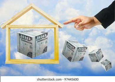 hand push home model and dollar box