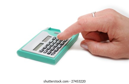 A hand pushing a button on the calculator isolated on white background