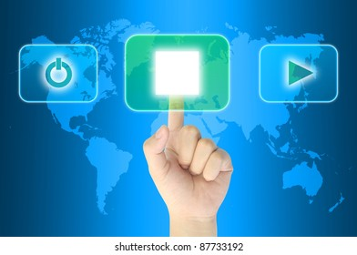 hand pushing media player technology button on a touch screen interface