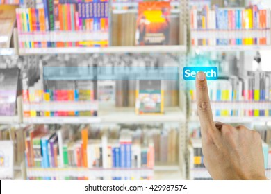 Hand pushing on search engine button and abstract blur books on the shelf in library in the background. Representing that search engine in the Internet is the world biggest library.