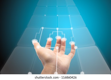 hand pushing on a touch screen interface.Abstract business in the digital.