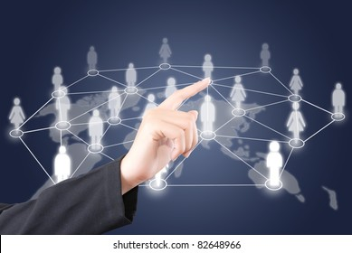 Hand pushing people social network communication.