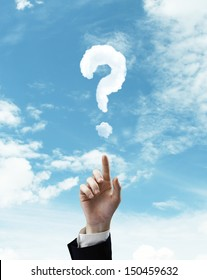 hand pushing at question mark on a sky background