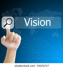 hand pushing a search button to find vision word on a touch screen interface
