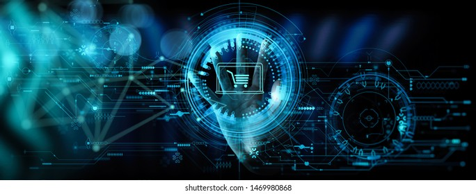 Hand pushing virtual symbol of online shopping with modern UI computer and smart phone.