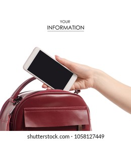 A hand put the phone in the female handbag pattern on a white background isolation