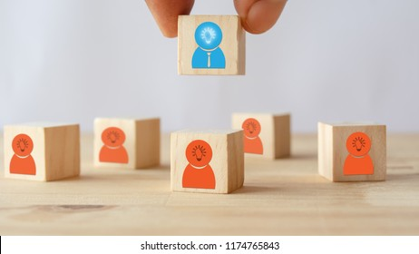 hand put ,pick or choose the one who got idea or special or right man for job than other in human resources management (hrm) or recruitment in business concept