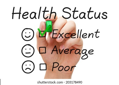 Hand putting check mark with green marker on excellent in Health Status evaluation form.