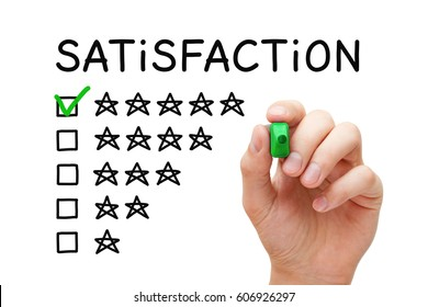 Hand putting check mark with green marker on five stars in customer satisfaction checklist form.
