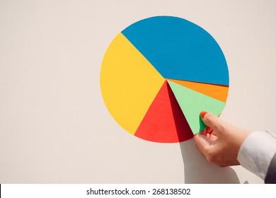 Hand putting last piece of paper pie chart