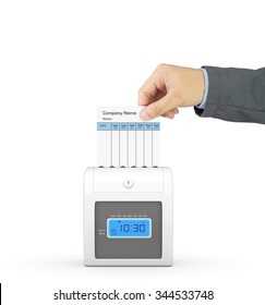 Hand putting paper card in time recorder machine with clipping path