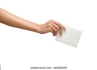 Hand putting a voting ballot isolated on white background
