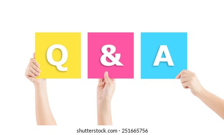 Hand up Question and Answers.isolated on white background - Shutterstock ID 251665756
