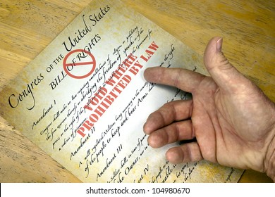 "Hand questioning a copy of the United States Bill Of Rights ""voided by law""."