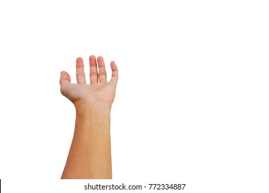 hand reach up for get and grab something on white background.