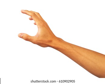 hand is Reach out to grab something.Which is the Asian male hand.Skin color is off-white to dark red.The shape of the hand is strong.This is a healthy Asian guy.So this hand gesture looks so beautiful