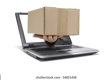 A Hand reaches out of an Laptop with a package