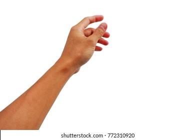 hand reaching up grab something on white background