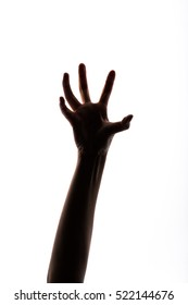 Hand reaching up isolated on white background.