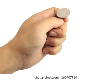 Hand ready to flip coin