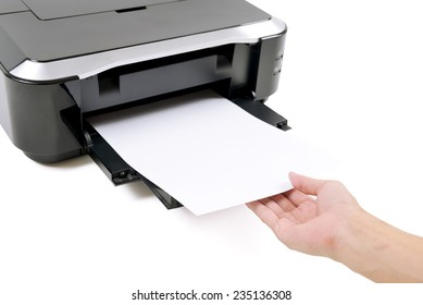 Hand receive paper from printer