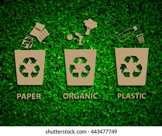 Hand recycle waste bins vector illustration, Waste types segregation recycling concept,paper,organic,plastic on paper craft die-cut.Green and Sustainable, vector grass blurred