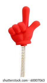 Hand red rubber on spring with finger showing direction up