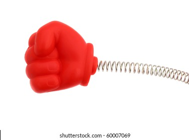 Hand red rubber on spring punching fist