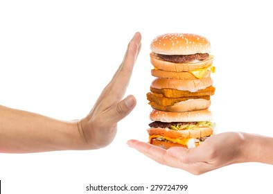 Hand refusing junk food with white background, no foods