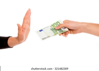 Hand refusing money, isolated on white
