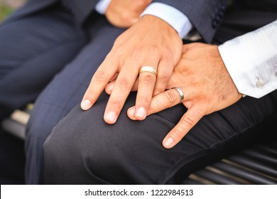 A hand with ring of gay couple in the park on their wedding day
