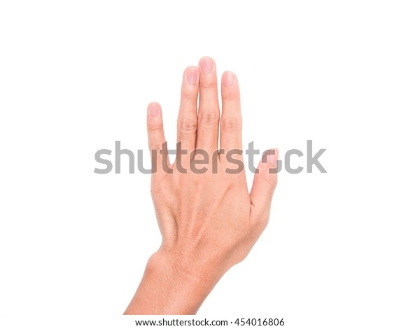 Hand Rising Sign Meaning Present Five Stock Photo (Edit Now