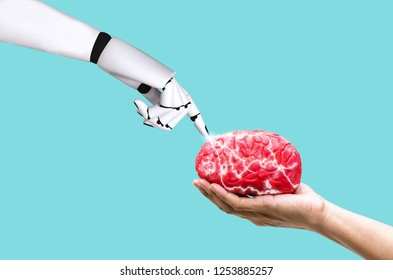 Hand robot brain concept ai in command memory on human hand holding