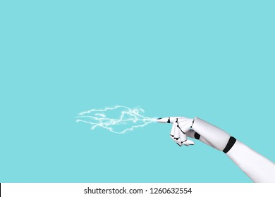 Hand robot concept 4.0 and technology electric wave