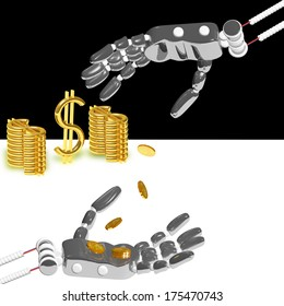 Hand of the robot puts money and dollars