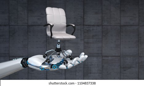 Hand of the robot with a swivel chair on the concrete background. 3d illustration.