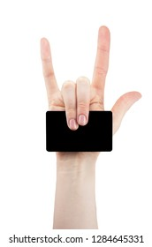 hand with rock and roll sign holding blank for card, Bank card, isolated on white background, copy space, mock up