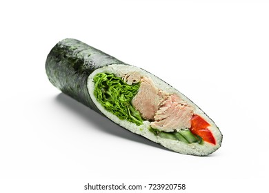 Hand roll with tuna meat, lettuce and vegetables isolated on white
