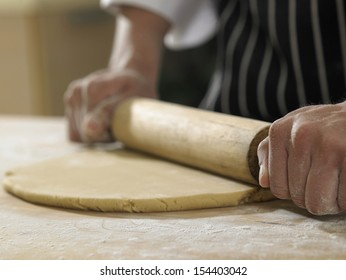 hand with rolling pin and flour