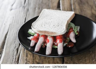 hand in a sandwich