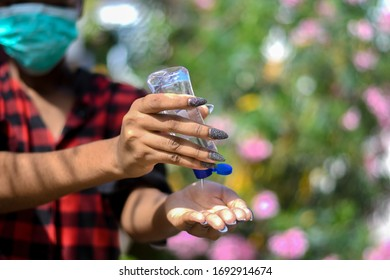 Hand sanitizers being used to clean hands