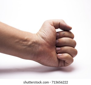 the hand with the scar on white background/hand with the scar/isolated objects