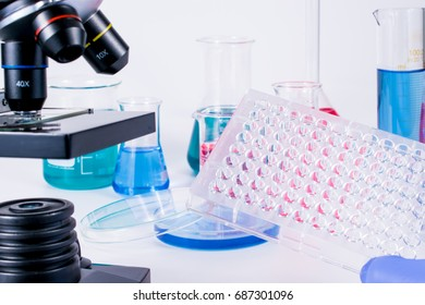 hand of scientist holding 96 well micro plate. examining samples in laboratory and close up of microscope . laboratory science, clinic and research concept.