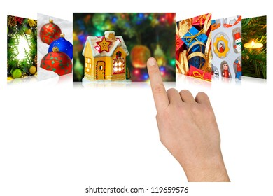 Hand scrolling christmas images (my photos) - isolated on white background